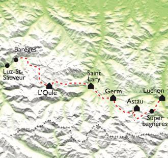 Carte GR10 - Luz St-Sauveur - Bagnères de Luchon (5ème partie)