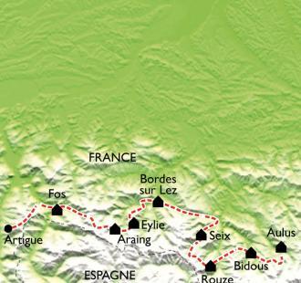 Carte GR10 - Bagnères de Luchon - Aulus les Bains (6ème partie)