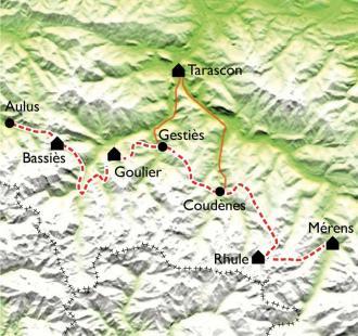 Carte GR10 - Aulus les Bains - Merens Les Vals (7ème partie)