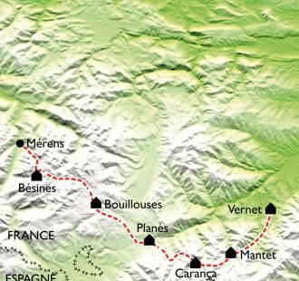 Carte GR10 - Merens-Les Vals - Vernet Les Bains (8ème partie)