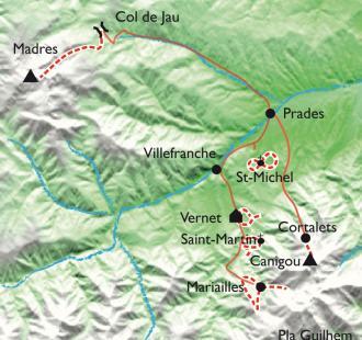 Carte Canigou-Vernet, patrimoine, balades et balnéo