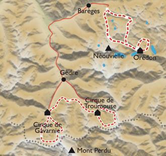 Carte De Gavarnie au Néouvielle, de cirques en lacs
