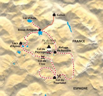 Carte Tour de l'Ossau, pays des lacs et des bergers