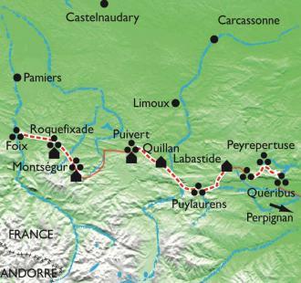 Carte Traversée du Pays cathare, les citadelles du vertige