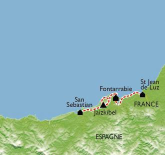 Carte Escapade océane, de Saint-Jean de Luz à San Sebastian