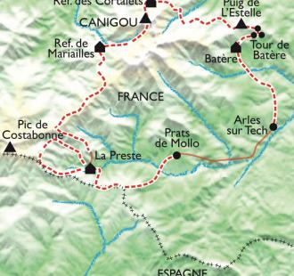 Carte Le Tour du Canigou, Olympe catalan