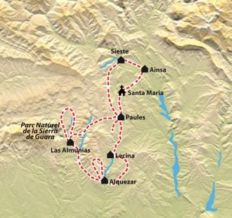 Carte Le grand tour de la Sierra de Guara
