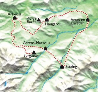 Carte Le Tour du Val d'Azun, l'Incontournable randonnée