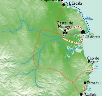 Carte Sentiers maritimes et kayak en Costa Brava