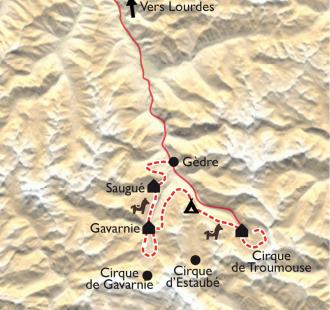 Carte Gavarnie, la ronde des Cirques avec des ânes