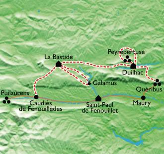 Carte De châteaux en baignades... avec des ânes en Pays Cathare