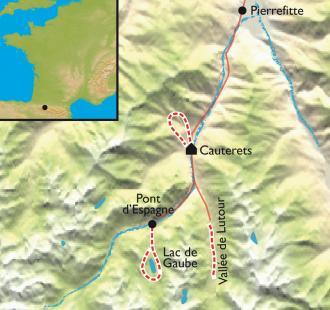 Carte Cauterets , Pont d'Espagne, au cœur des Pyrénées