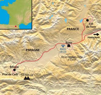 Carte Réveillon raquette entre Cerdagne, Capcir et Sierra de Cadi