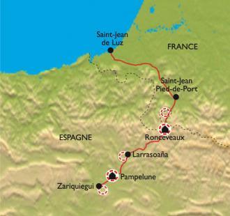 Carte Le passage des Pyrénées, pour un réveillon à Pampelune