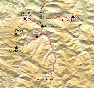 Carte Vallée d'Aspe, raquettes au pays des isards