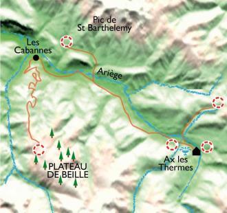 Carte Raquettes ariégeoises, balnéo et bien être à Ax-les-Thermes