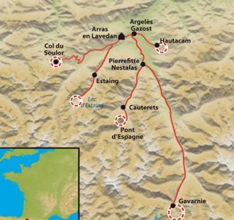Carte Raquette douillette, du Val d'Azun à Gavarnie