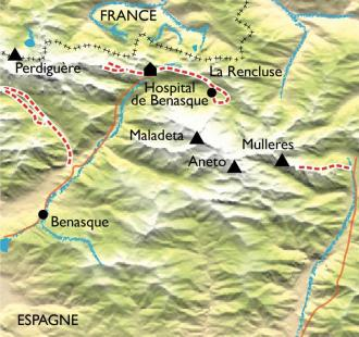 Carte Benasque : raquettes et eaux chaudes au pied de  l'Aneto