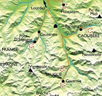 Carte Raquette de charme dans les Grands Sites des Pyrénées