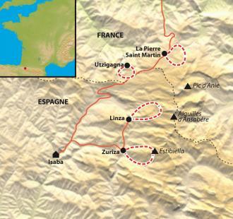 Carte Raquette navarraise, entre Zuriza et la Pierre-St-Martin