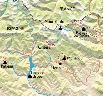 Carte Autour du Mont Perdu et des canyons d'Ordesa