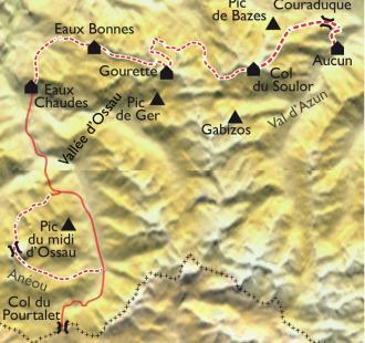 Carte De l'Ossau au Val d'Azun, itinérance en hôtels