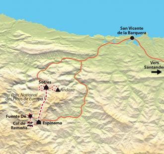 Carte Picos de Europa, raquettes dans les Asturies et la Cantabrie