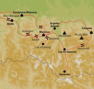 Carte Le Tourmalet et les grands cols du Tour de France en vélo électrique