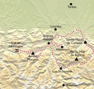 Carte Les Grands Cols Pyrénéens en douceur, découverte à VAE
