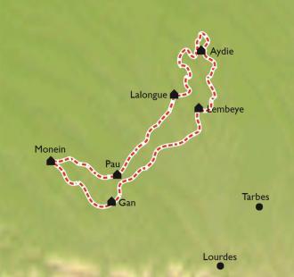 Carte Jurançon Madiran, sur la route des vins à vélo