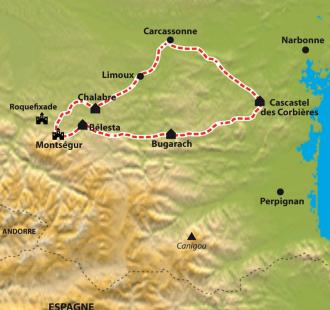 Carte La traversée du Pays Cathare par les petites routes des Corbières