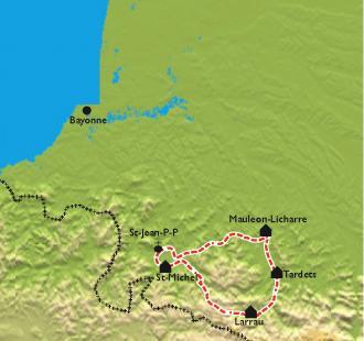 Carte La montagne Basque à vélo électrique