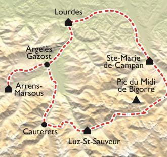 Carte Le grand tour du Tourmalet à VTT, Hautes-Pyrénées