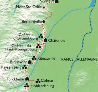 Carte Alsace : villages, châteaux et forteresses médiévales