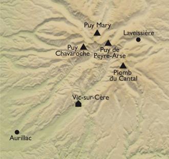 Carte Authentique Cantal, volcans grandeur nature !