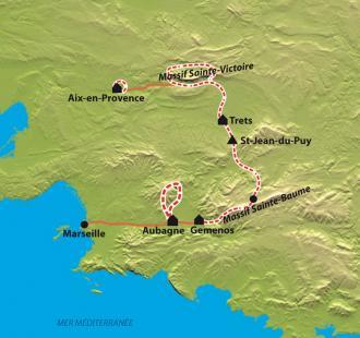 Carte Massifs provençaux : de Cézanne à Pagnol