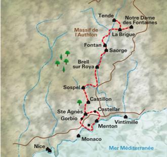 Carte Le Chemin de la Mer : de Tende à Menton