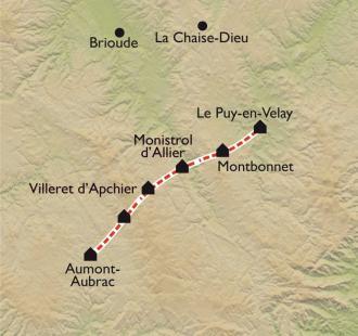 Carte Le Puy en Velay - Aumont-Aubrac