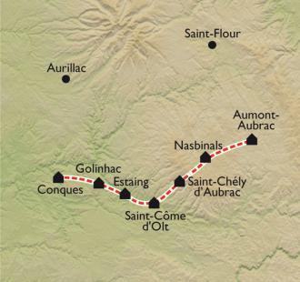 Carte Aumont-Aubrac - Conques