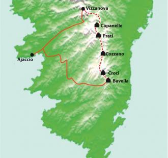 Carte Corse, Le GR20 Sud, de Bavella à Vizzavona, sac transporté
