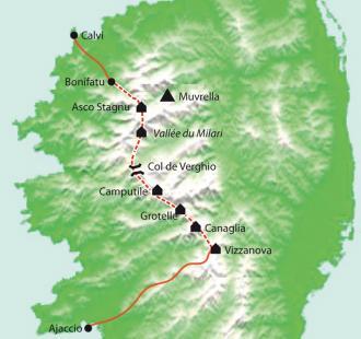 Carte Corse, le GR20 Nord, de Vizzavona au cirque de Bonifatu, sac transporté