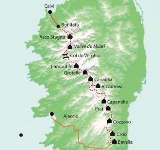 Carte Corse, Le GR20 Sud et Nord, de Bavella à Asco, sac transporté