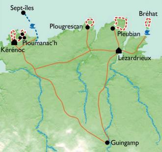 Carte Côtes de Goëlo et de Granit Rose
