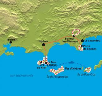 Carte Giens, Porquerolles, Port-Cros et les Maures