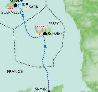Carte Jersey, Guernesey et Sark, les îles Anglo-Normandes