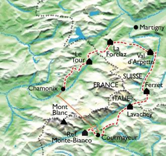 Carte Le Tour du Mont Blanc Nord