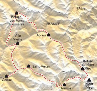 Carte Le Tour du Queyras en gîtes