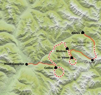 Carte Le Tour du Queyras en hôtels
