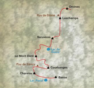 Carte Lacs et volcans d'Auvergne, du Puy de Dôme au Sancy