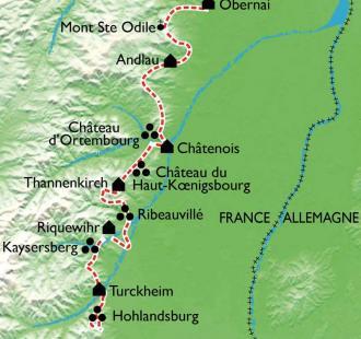 Carte Alsace, de vins en châteaux